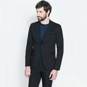 Zara Man Black Tag Blazer Contrast Lapel Suit 36